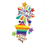Palloncino Happy Birthday stelle Multi color