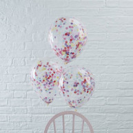 5 WEDDING BALLOONS WITH CONFETTI
