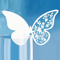 10 PLACE CARD - WHITE BUTTERFLY