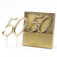 Cake topper 50 oro e diamanti