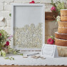Guest book frame with small wood hearts